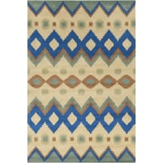 Chandra Allie Hand Tufted Wool Yellow/navy Blue Area Rug