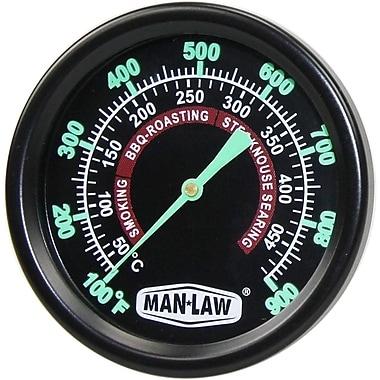 Man Law™ BBQ Grill and Smoker Gauge Thermometer With 2.2