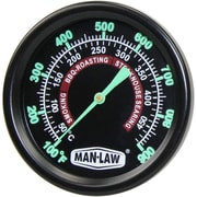 """Man Law™ BBQ Grill and Smoker Gauge Thermometer With 2.2"""" Glow-in-the-Dark Dial"""