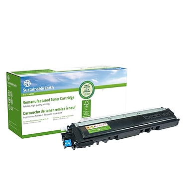 Sustainable Earth by Staples - Cartouche de toner cyan, remise à neuf, Brother TN210C (SEBTN210CR)