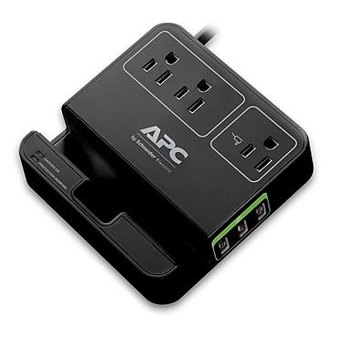 APC - Limiteur de surtension Essential SurgeArrest P3U3B, 3 prises, 3 ports de charge USB, noir