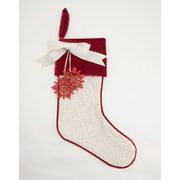 Provence Home Collection Matelasse Stocking; White / Red