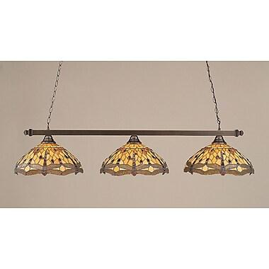 Toltec Lighting 3 Light Pool Table Light; Black Copper