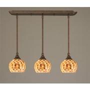 Toltec Lighting 3 Light Multi Light Mini Pendant w/ Hang Straight Swivels; Brushed Nickel