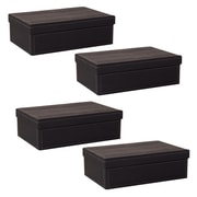 WaldImports 4 Piece Black Paperboard Box w/ Lid Set (Set of 4); Black