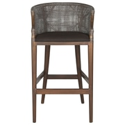Safavieh Brando 28'' Bar Stool with Cushion; Brown/Black