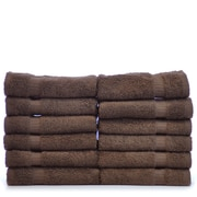 Bare Cotton Luxury Hotel and Spa Towel 100pct Genuine Turkish Cotton Wash Cloth (Set of 12); Cocoa