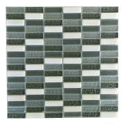Abolos 0.63'' x 2'' Glass and Quartz Mosaic Tile in Black Walnut