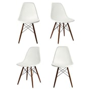 eModern Decor Shell Side Chair (Set of 4); White