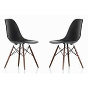 eModern Decor Shell Side Chair (Set of 2); Black