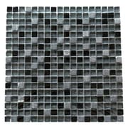 Abolos 0.63'' x 0.63'' Glass and Quartz Mosaic Tile in Navy Blue