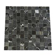 Abolos 1'' x 1'' Glass and Quartz Mosaic Tile in Black