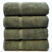 Bare Cotton Luxury Hotel and Spa Towel 100pct Turkish Cotton Bath Towel (Set of 4); Moss