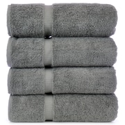 Bare Cotton Luxury Hotel and Spa Towel 100pct Turkish Cotton Bath Towel (Set of 4); Gray