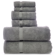 Bare Cotton Luxury Hotel and Spa Turkish Cotton Dobby 6 Piece Bath Towel Set; Gray