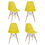 eModern Decor Slope Shell Side Chair (Set of 4); Dark Yellow