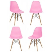 eModern Decor Slope Shell Side Chair (Set of 4); Pink