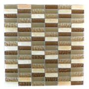 Abolos 0.63'' x 2'' Glass and Quartz Mosaic Tile in Macadamia