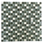 Abolos 0.63'' x 0.63'' Glass and Quartz Mosaic Tile in Green/White