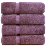 Bare Cotton Luxury Hotel and Spa Towel 100pct Turkish Cotton Bath Towel (Set of 4); Plum