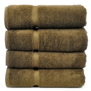 Bare Cotton Luxury Hotel and Spa Towel 100pct Turkish Cotton Bath Towel (Set of 4); Cocoa