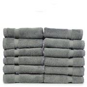 Bare Cotton Luxury Hotel and Spa Towel 100pct Genuine Turkish Cotton Wash Cloth (Set of 12); Gray
