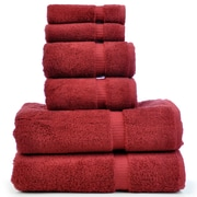 Bare Cotton Luxury Hotel and Spa Turkish Cotton Dobby 6 Piece Bath Towel Set; Cranberry