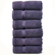 Bare Cotton Luxury Hotel and Spa Towel 100pct Genuine Turkish Cotton Hand Towel (Set of 6); Plum