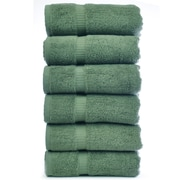 Bare Cotton Luxury Hotel and Spa Towel 100pct Genuine Turkish Cotton Hand Towel (Set of 6); Moss