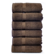 Bare Cotton Luxury Hotel and Spa Towel 100pct Genuine Turkish Cotton Hand Towel (Set of 6); Cocoa