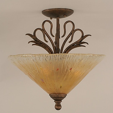 Toltec Lighting Swan 2-Light Semi Flush Mount; Amber Crystal