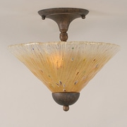Toltec Lighting 2 Light Semi Flush Mount; Bronze