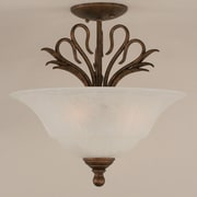 Toltec Lighting Swan 3 Light Semi Flush Mount; Amber