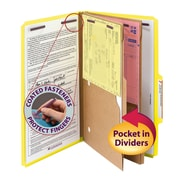 "Smead® Pressboard Classification File Folder w/ Wallet Divider and SafeSHIELD® Fasteners, 2"" Exp., Legal, Yellow, 10/Box (19084)"