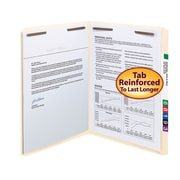 Smead® Fastener File Folder, 2 Fasteners, Reinforced Straight-Cut Tab, Letter Size, Manila, 50/Box (14513)