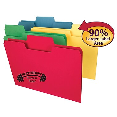 Smead® Super Tab Heavyweight File Folder, Oversized 1/3-Cut Tab, Letter Size, Assorted Colors, 50/Box (10410)