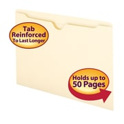 Smead® File Jacket, Reinforced Tab, Flat-No Expansion, Legal Size, Manila, 100/Box (76500)