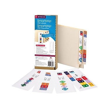 Smead® Smartstrip Labeling System, Refill Pack, End Tab Labels, Ink-Jet Printer, 250/Pack (66006)