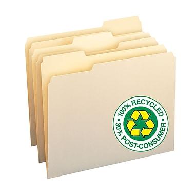 Smead® 100% Recycled File Folders, 1/3-Cut Tab, Letter Size, Manila, 100/Box (10339)