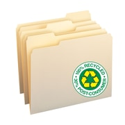 Smead® 100% Recycled File Folders, 1/3-Cut Tab, Letter Size, Manila, 100/Box (10339)