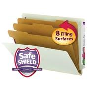 Smead® End Tab Pressboard Classification File Folder with SafeSHIELD® Fasteners, Letter, Gray/Green, 10/Box (26820)