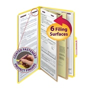"Smead® Pressboard Classification File Folder with SafeSHIELD® Fasteners, 2 Dividers, 2"" Exp., Legal, Yellow, 10/Box (19034)"
