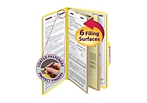 Smead® Pressboard Classification File Folder with SafeSHIELD® Fasteners, 2 Dividers, 2' Exp., Legal, Yellow, 10/Box (19034)