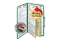 Smead® Pressboard Classification File Folder with SafeSHIELD® Fasteners, 2 Dividers, 2' Exp., Legal, Green, 10/Box (19033)