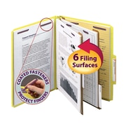 """Smead® Pressboard Classification File Folder with SafeSHIELD® Fasteners, 2 Dividers, 2"""" Exp., Letter, Yellow, 10/Box (14034)"""