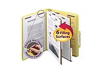 Smead® Pressboard Classification File Folder with SafeSHIELD® Fasteners, 2 Dividers, 2' Exp., Letter, Yellow, 10/Box (14034)
