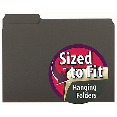 Smead® Interior File Folder, 1/3-Cut Tab, Letter Size, Black, 100/Box (10243)