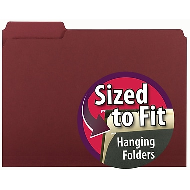 Smead® Interior File Folder, 1/3-Cut Tab, Letter Size, Maroon, 100/Box (10275)