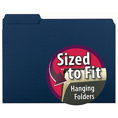 Smead® Interior File Folder, 1/3-Cut Tab, Letter Size, Navy, 100/Box (10279)