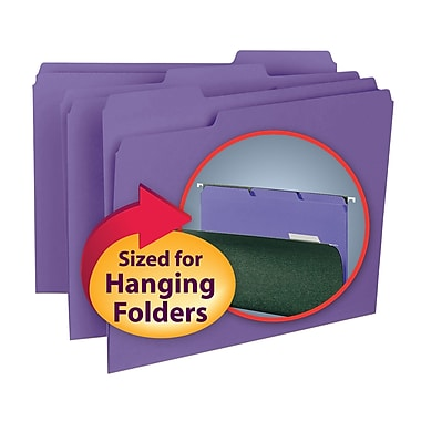 Smead® Interior File Folder, 1/3-Cut Tab, Letter Size, Purple, 100/Box (10283)